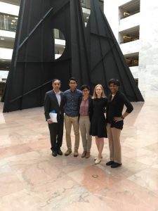 Above: (left to right) participants Dr. Aziz Soomro, Zulfiqar Soomro, Executive Director Fati Gul, Ella Bjurman, and Simone Williams take a picture inside of  Hart  Senate Office Building  before attending meetings on Thursday, July 13th.